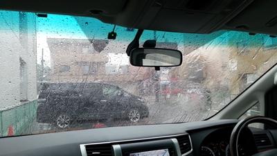 豪雨の寺町駐車場